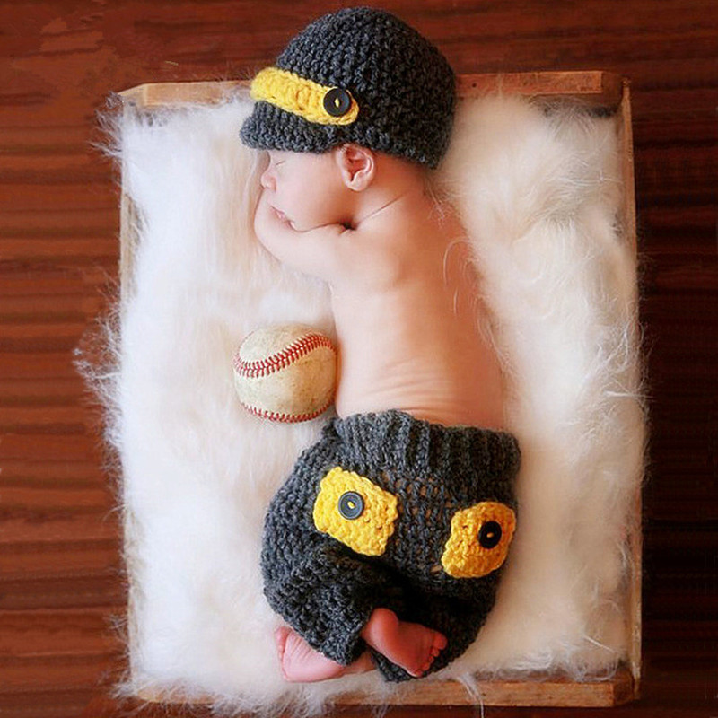 Newborn Photo Shoot Props Baby Boy Accessories Baby Baseball Knitting Clothing Hat+Bow Tie+Suspenders Set Baby Photography Props
