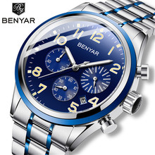 цена на Benyar Men's Watches Military 2019 mens watches top brand luxury watch men sport wrist watch male quartz clock relogio masculino