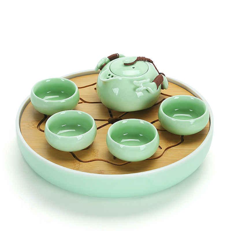 Mini ถาดชาเซรามิคไม้ไผ่ระบายน้ำเก็บน้ำ Kung Fu ชุดชา Room กระดานจีนถ้วยชาพิธีเครื่องมือชุดชา