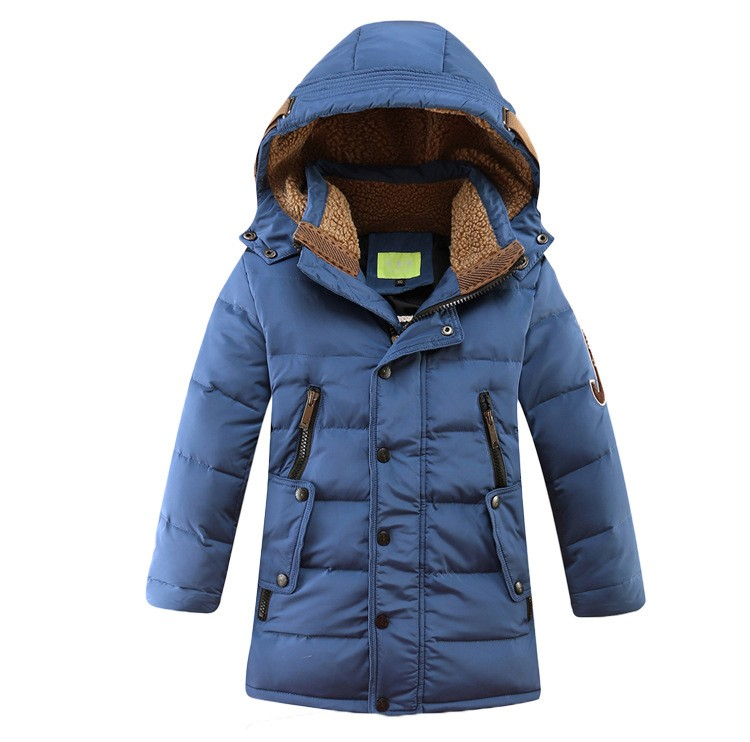2017 design section down 4 color hooded fluff kids school big boy zipper overcoat long coat solid light down jacket clothes boy