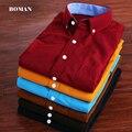 Бесплатная доставка С Длинным рукавом мужская Рубашка Бренд Тонкий Вельвет Solid camisa masculina Рубашки Высокого Качества Плюс Размер М-5XL 10 цвета