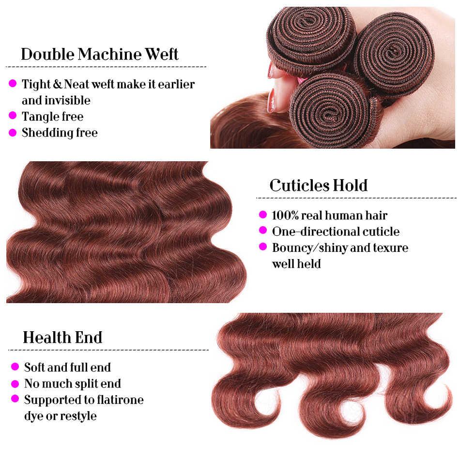 Объемная волна 2/3 Связки с бразильские волосы с закрытием Ткань Связки с закрытием человеческих волос Связки с закрытием Burg #33 #