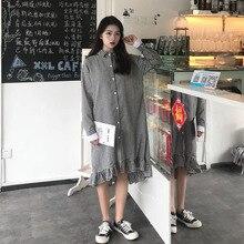 b98ff96a097ed Ulzzang Corea las mujeres ropa nueva moda verano otoño tendencia cuadros  encaje patchwork temperamento collar completo