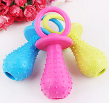 1Pc Rubber Pacifier for Pet Toys Dog Cat Puppy Chew Toys with Bell Sound Inside(China)