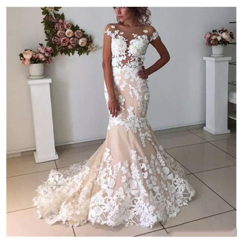 LORIE Champagne Mermaid Wedding Dresses Backless 2019 Robe De Mariee  Vintage Lace Bridal Gown Lace Up Back