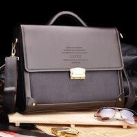 2016 New Men Business Briefcase With Lock Fashion Shoulder Bag Classic Style Case Messenger Shoulder Attache
