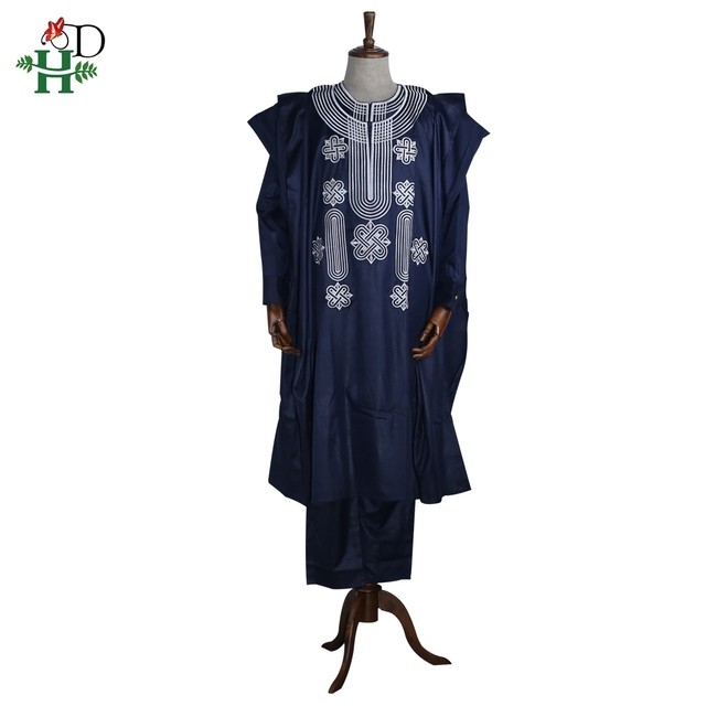 Africa men dashiki bazin riche suits (tops , shirt ,pant 3 pieces set )embroidery navy blue black white african mens clothing robe