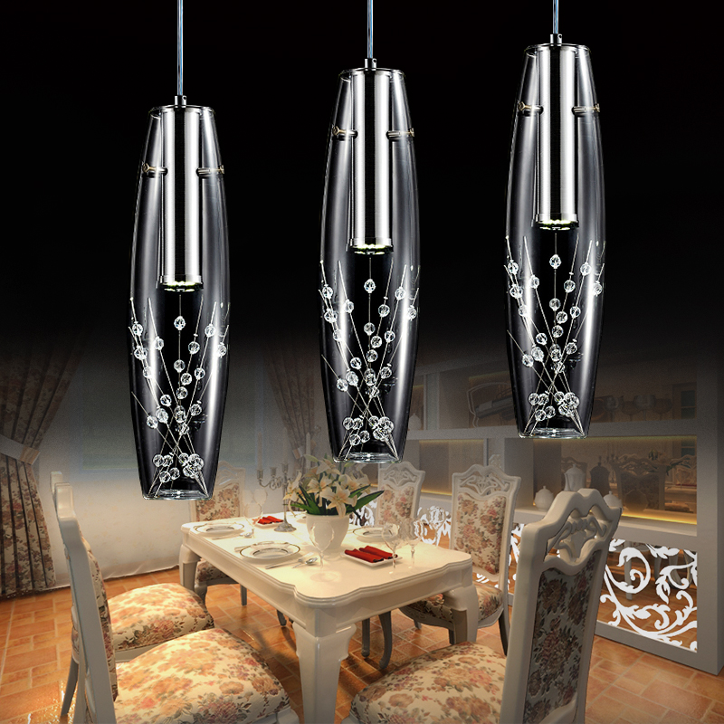 fixture luces led restaurante creativo de acero inoxidable moderna lmpara colgante de cristal de comedor lustres