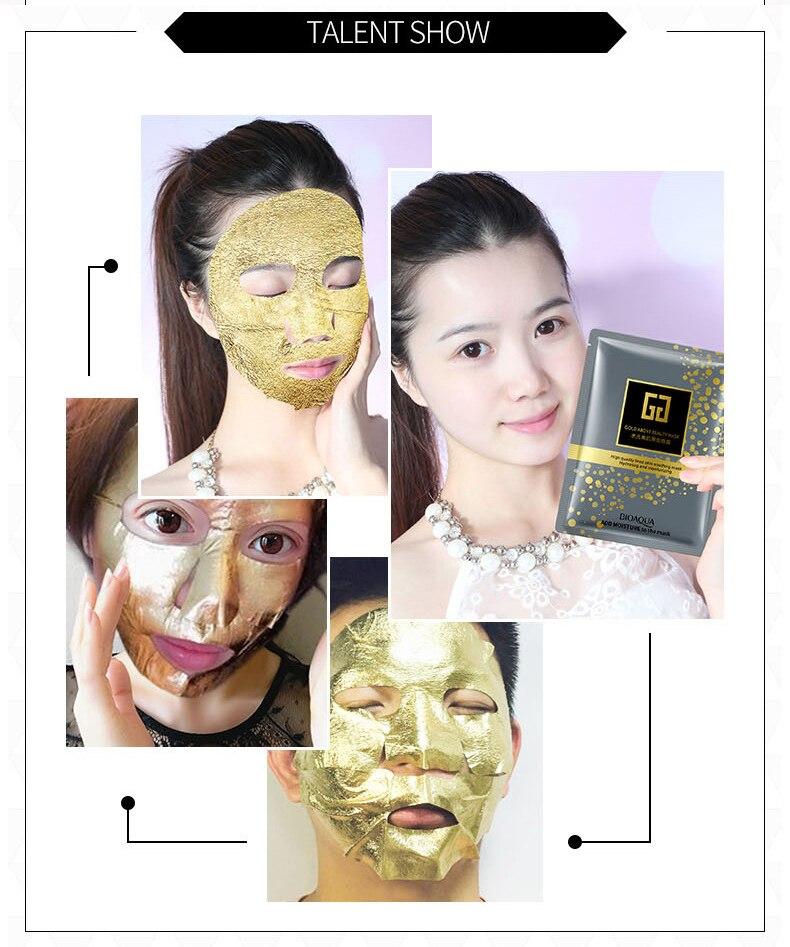 Bioaqua 24K Gold Collagen Facial Mask Crystal Gold Collagen Face Mask Moisturizing Anti-aging Face Skin Care Cosmenics 5