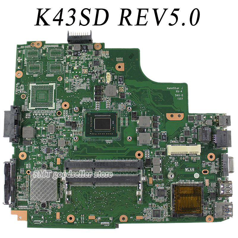 все цены на  For ASUS A43e P43E K43E Motherboard K43SD REV5.0 Mainboard With i3 Processor 100% tested OK  онлайн