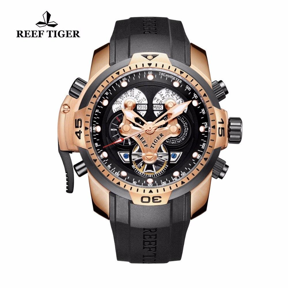 Риф Тигр/RT мужские спортивные часы со сложной циферблат розового золота Автоматическая военные часы с резиновым ремешком RGA3503