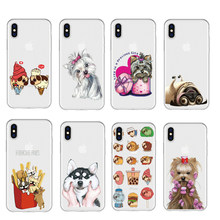 Bonito dos desenhos animados Cão Pug Husky Transparente Caso de Telefone Coque Para iPhone XR 6 6 S Plus X 5 7 Plus claro Tampa Do Telefone Para o iphone 8 7 Plus(China)