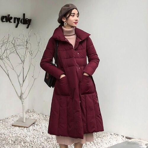 Hiver Feminino Élégant Nouvelle Casaco 2018 Outwear rembourré Beige Pour Femelle Imperméable Longue Vent Femmes Tranchée vert gris rouge Manteau noir Coton Vêtements FdSZ4SOn