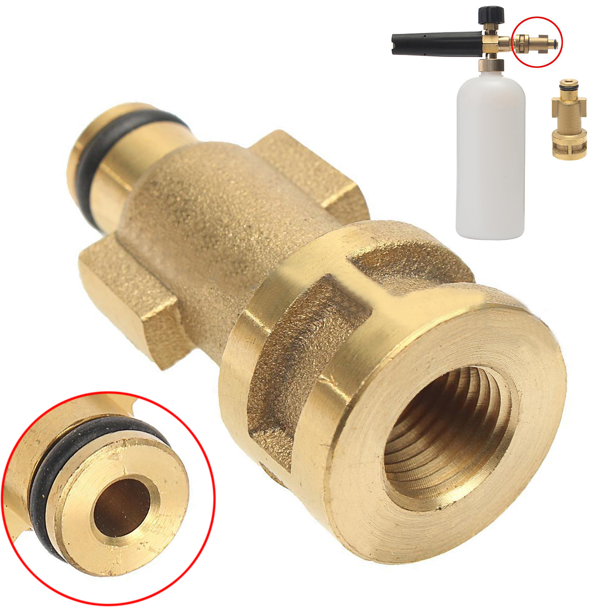 1pc Brass Washer Adapter 3000PSI Mayitr 1/4 Female Snow Foam Lance Adaptor Quick Connector For Pressure Water Tools 51*24*12mm