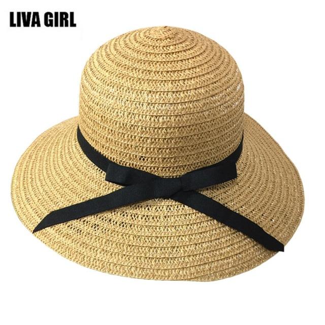 3c41874b238 Women Sunscreen Sun Hats Summer Casual Folding Travel Holiday Beach Lady  Big Brim Grass Hat Caps Ribbon Decoration 2017 Hot Sale