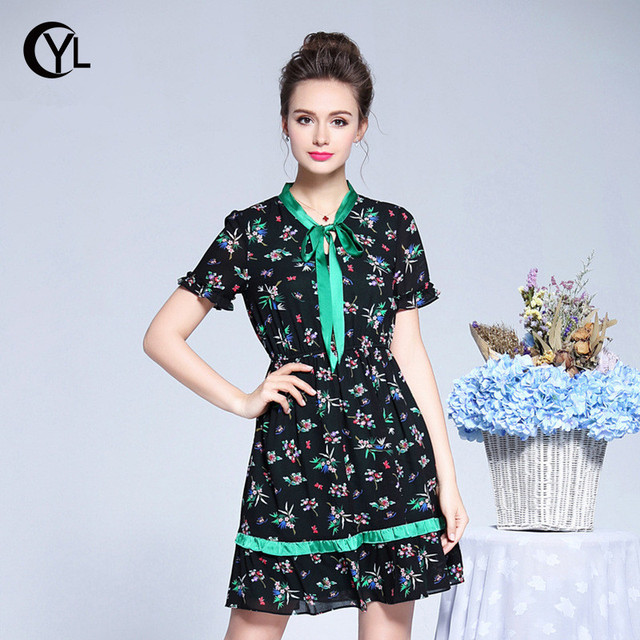 OUYALIN L-3XL 4XL 5XL Plus size Dress Summer 2018 Lady Short sleeve Bowtie  Collar Elastic Waist Black Chiffon Floral Dresses 9fdfc68f8c6d