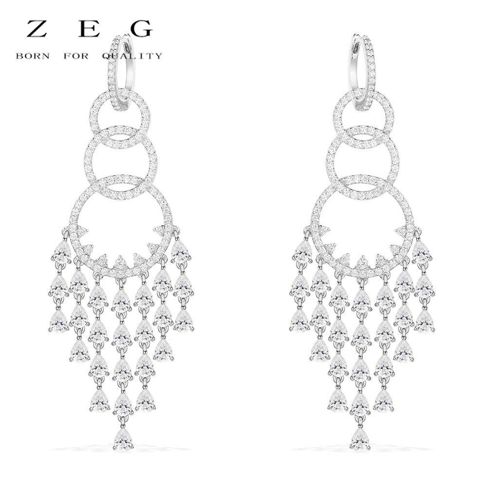 ZEG High Quality Original 1:1 Sterling Silver Studded Diamond Dinner Earrings Women Jewelry ...