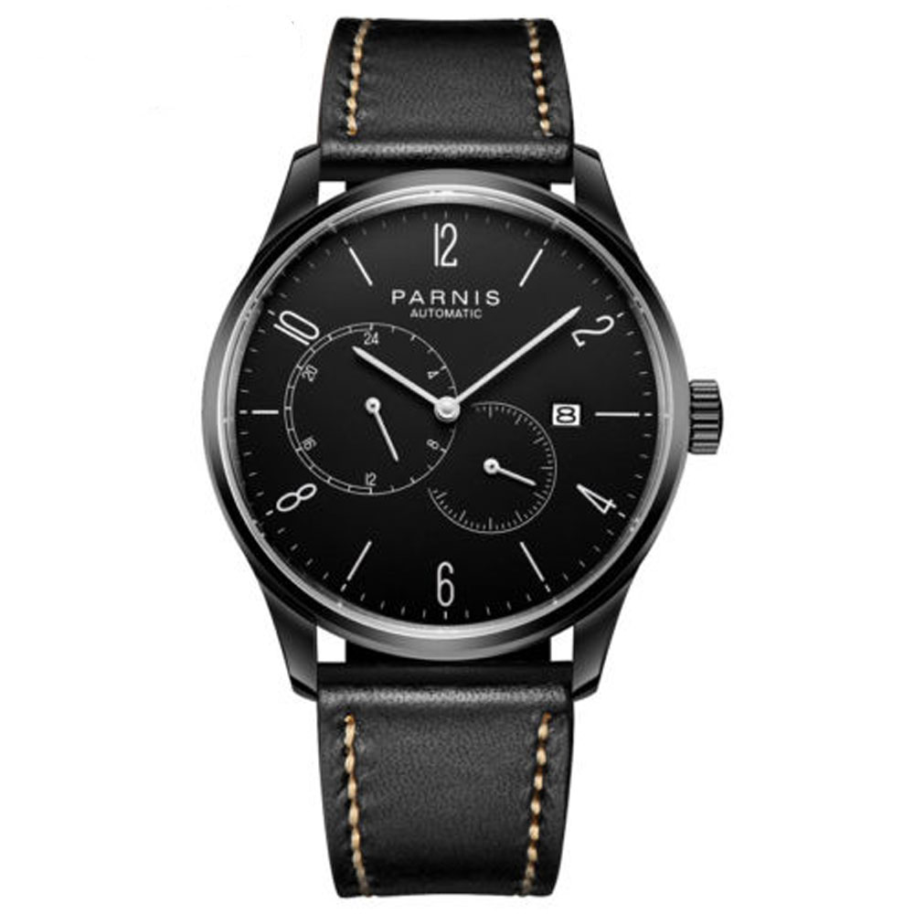 42mm parnis Black Dial PVD Coated Complete Calendar Leather Strap top brand Luxury Miyota Automatic Mechanical Mens Wristwatches42mm parnis Black Dial PVD Coated Complete Calendar Leather Strap top brand Luxury Miyota Automatic Mechanical Mens Wristwatches