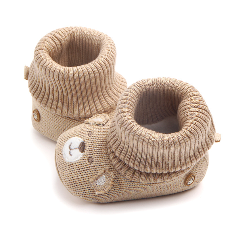 Knitting Baby Boots Soft Sole New Born Baby Girls Boys Cartoon Shoes Slip-on First Walkers Infantil Toddler Boots Pink 2018 new