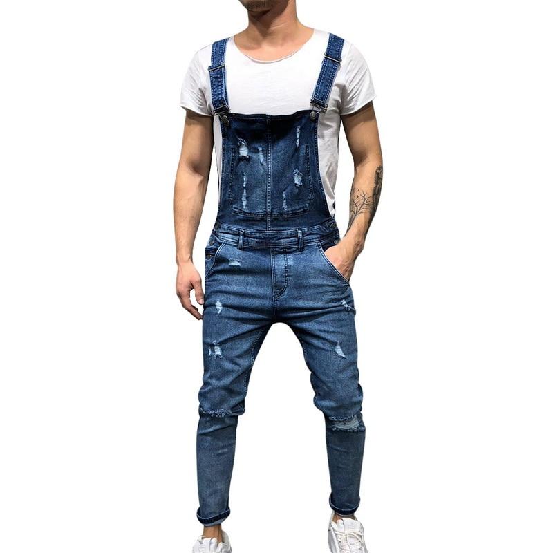 Laamei 2019 Fashion Men's Ripped   Jeans   Jumpsuits Hi Street Distressed Hole Denim Bib Overalls For Man Suspender Pants Size M-XXL
