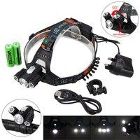 Bike Scheinwerfer 10000LM 3x XM-T6 + 2R5 LED Scheinwerfer Fahrrad Licht 4 Modi Fahrrad Taschenlampe mit 2 stücke 18650 Batterie