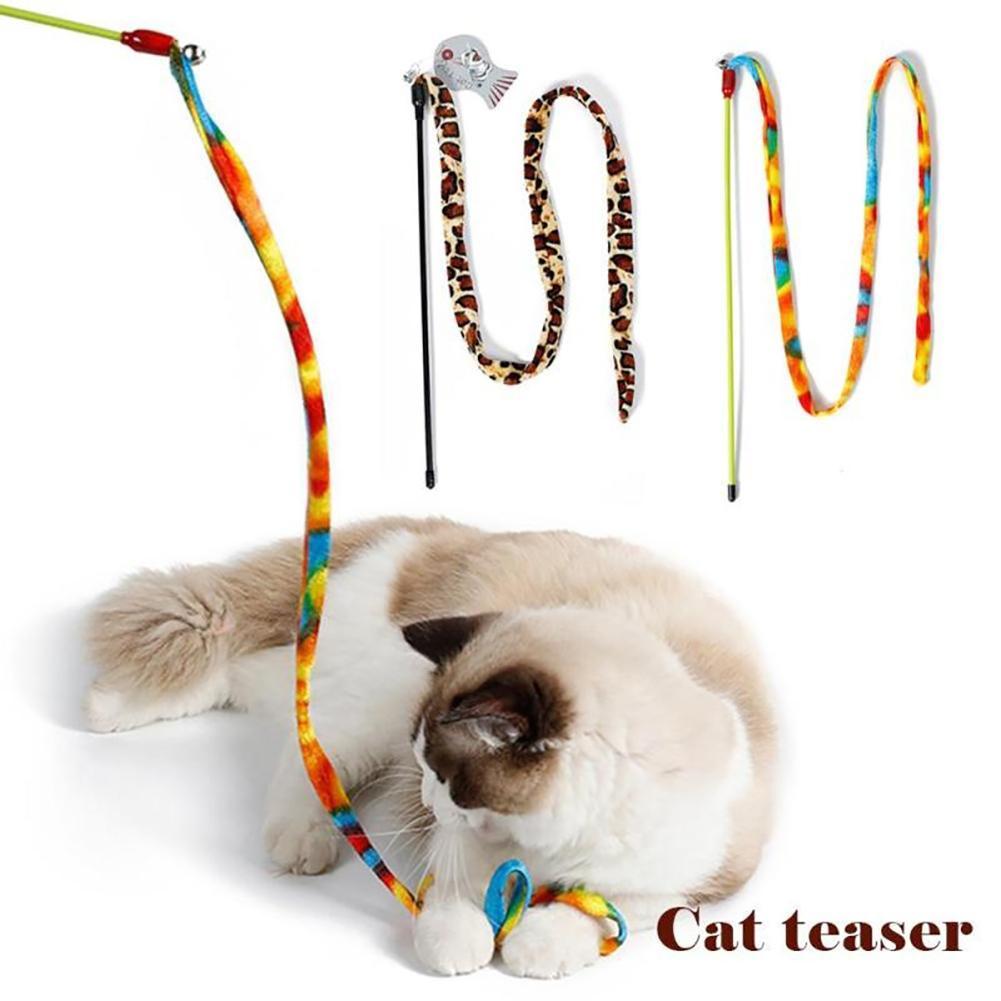 Gewetensvol Regenboog Luipaard Dangler Huisdier Kat Teaser Wand Rod Bell Kitten Play Chaser Speelgoed Regelmatig Drinken Met Thee Verbetert Uw Gezondheid