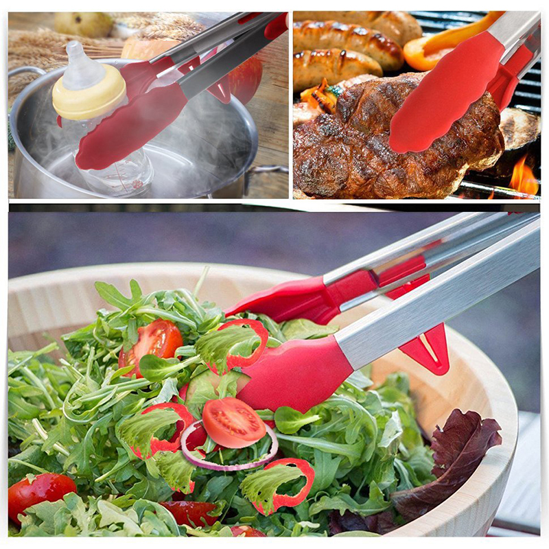 2pcs Stainless Steel BBQ Tongs Silicone Non-Slip Clip Salad Bread Serving Tongs Kitchen Tools For Cooking Grill Barbecue Tong