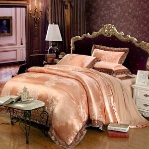 Image 3 - 4pcs ירוק אקארד משי סט מצעים מלכת מלך יוקרה סאטן שמיכה/שמיכה/שמיכת כיסוי מיטת סט בית טקסטיל