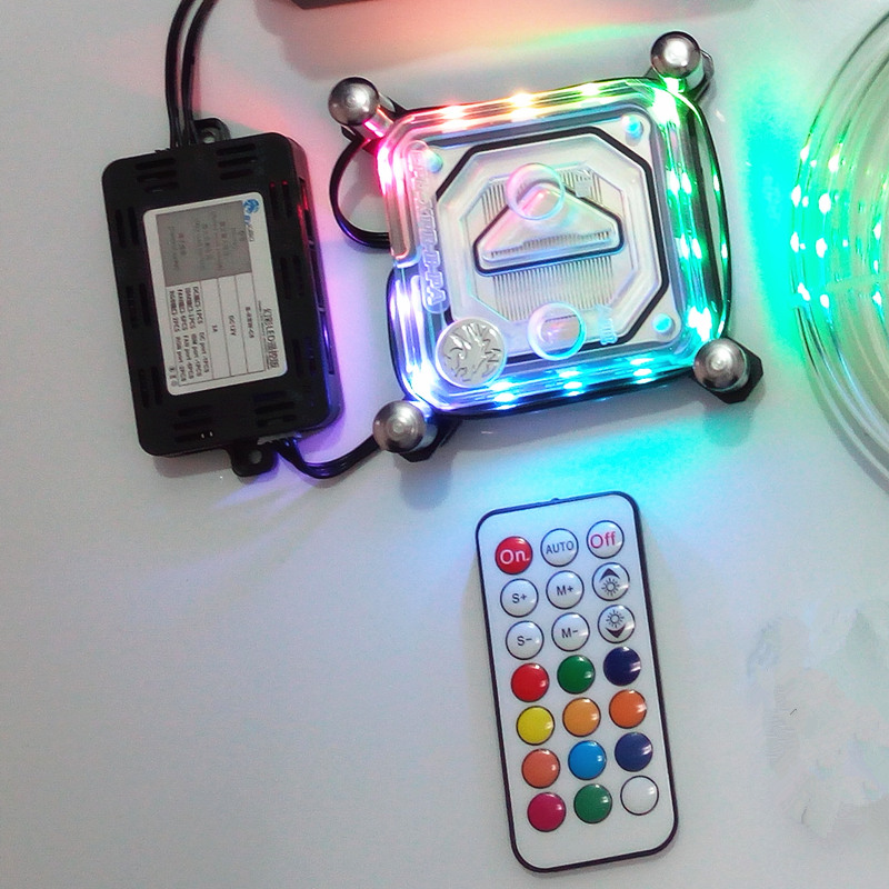 For Intel LGA i3/i5/i7/115X Computer CPU transparent water cooling cooler radiator block 2018 RBW Magic Colorful lights transparent acrylic computer water cooling cpu water block 60mm x 60mm copper radiator for intel 115x 1366 2011 page 8