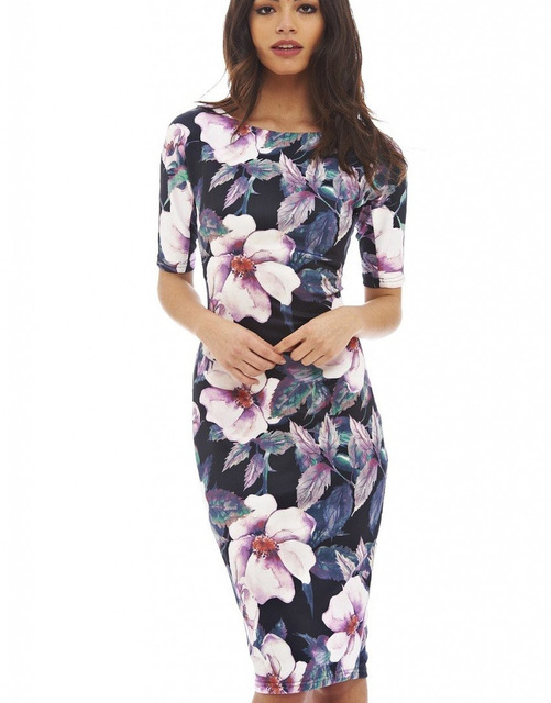 Us 9 98 Women Dress Vestidos Free Shipping Designer Elegant Floral Print Work Business Casual Party Pencil Sheath Esp004 In Dresses From Women S