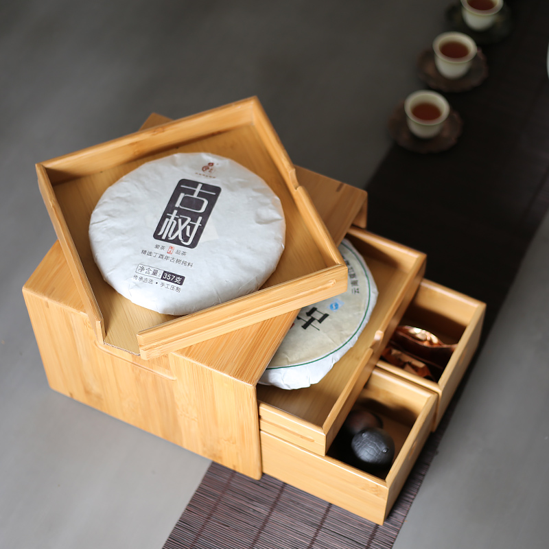Traditional Chinese Natural Bamboo Pu-Erh Tea Box 3