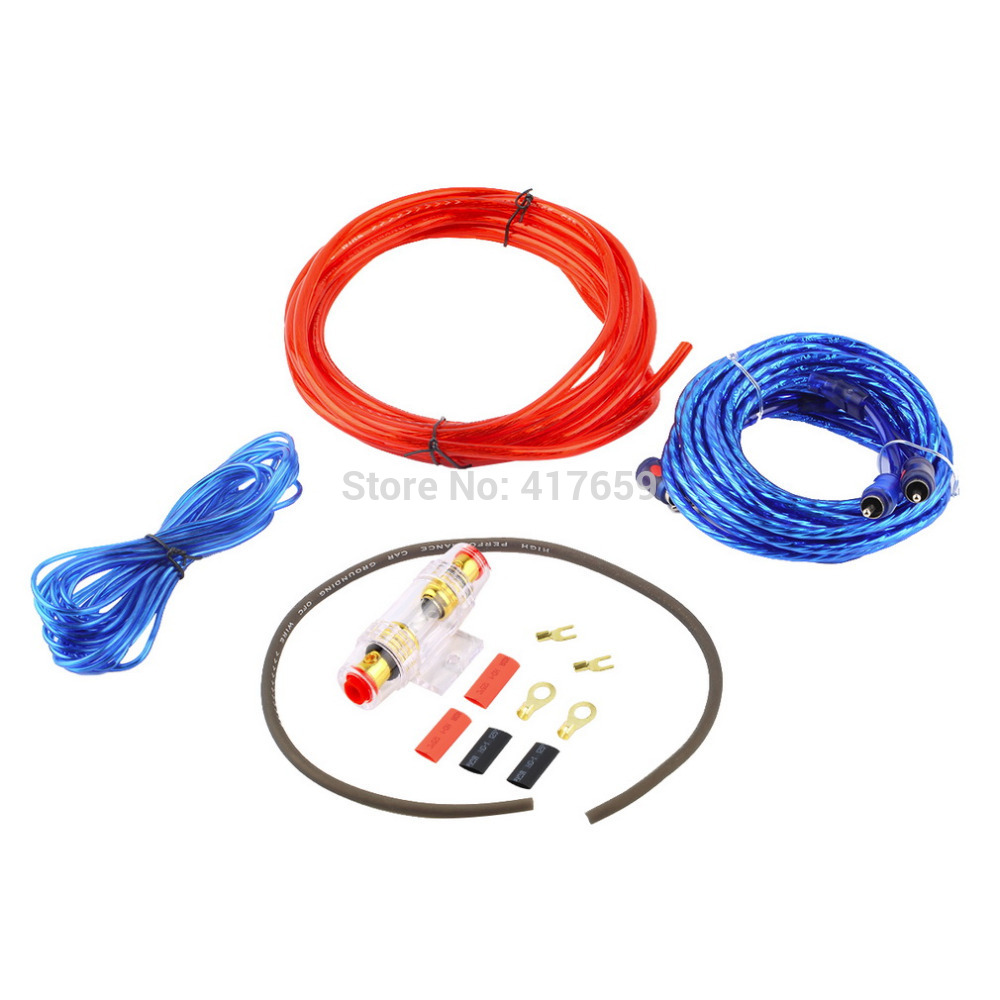 Metal 800W 8GA Car Audio Subwoofer Amplifier AMP Wiring Fuse Holder Wire Cable Support Installation Kit