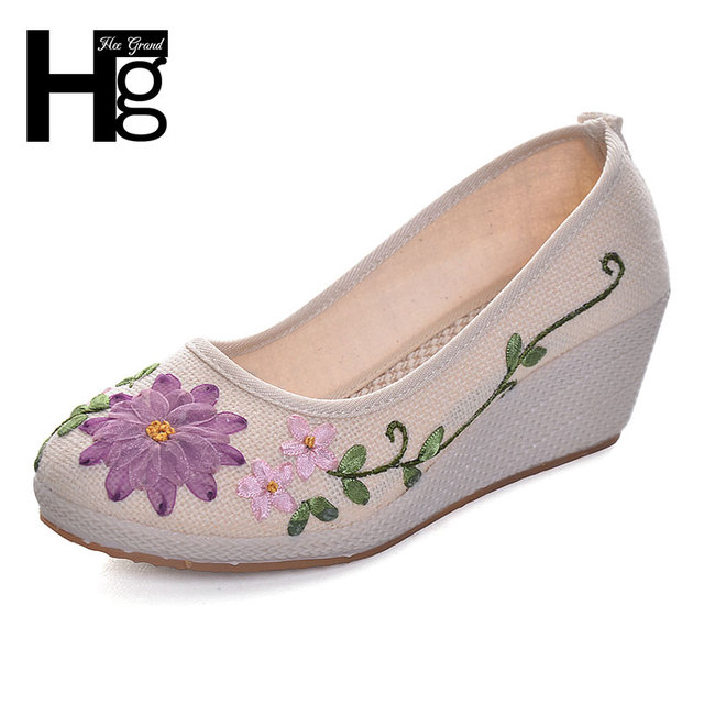 HEE GRAND Plus Size 35-40 Women Wedge Shoes Round Toe Beautiful Manual Flower Rubber Sole Shoes for Woman XWD5300