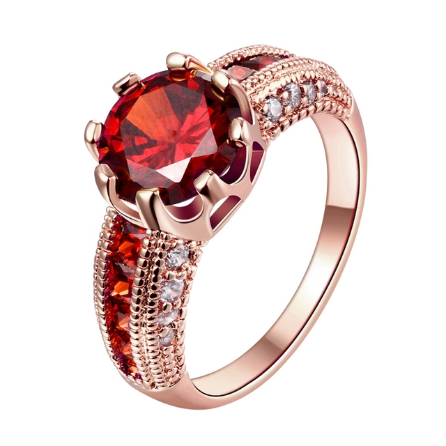 Size 78 Women Fashion Jewelry Rings Rose Gold Color Filled Red