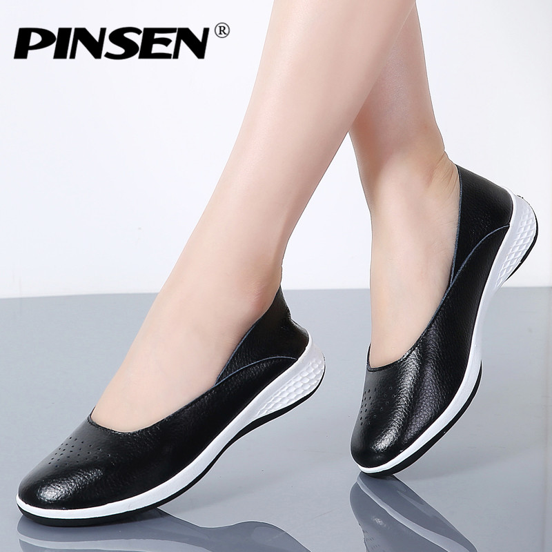 PINSEN Genuine Leather Sneakers Women Loafers Ballet Flats Shoes Creepers Female Flat Shoes Woman Slip On Loafers Boat Shoes pinsen spring women genuine leather ballet flats casual shoes round toe slip on flats female loafers ballerina flats boat shoes