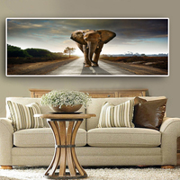 Africa Elephant Animal Landscape Canvas Art Posters and Prints Scandinavia Nordic Abstract Wall Art Picture for Living Room