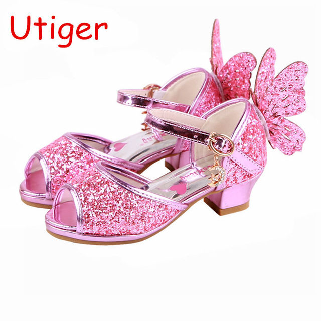 615fd67fb865 Spring Crystal Girls Sandals Butterfly Princess Children Low heel Shoes For Kid  Glitter Sandals fish mouth Autumn Summer