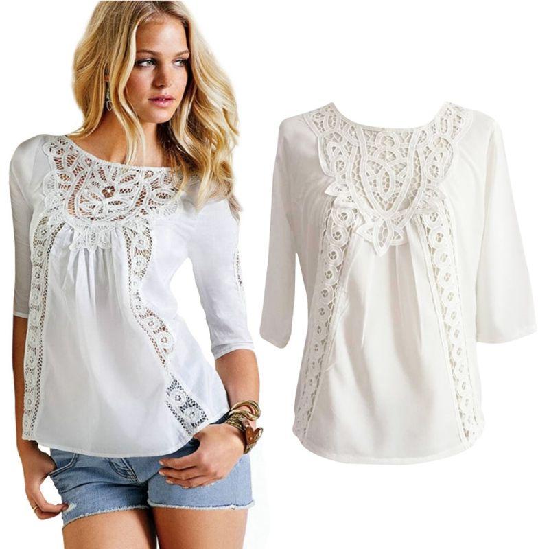 03861193d Mais novo Mulheres Rendas de Croché Blusa Solta Casuais Chiffon 3/4 Camisa  de Manga Comprida Branca Tops em Blusas & Camisas de Roupas das mulheres no  ...