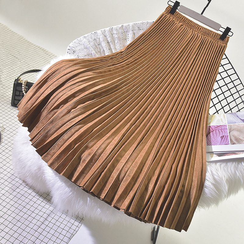 19 Two Layer Autumn Winter Women Suede Skirt Long Pleated Skirts Womens Saias Midi Faldas Vintage Women Midi Skirt 22