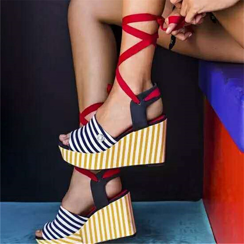 Cute Stripe Women Lace Up Sandals Platform Pumps Summer Wedge Shoes Woman High Heel Gladiator Wedges Footwear Beach Shoe phyanic 2017 gladiator sandals gold silver shoes woman summer platform wedges glitters creepers casual women shoes phy3323