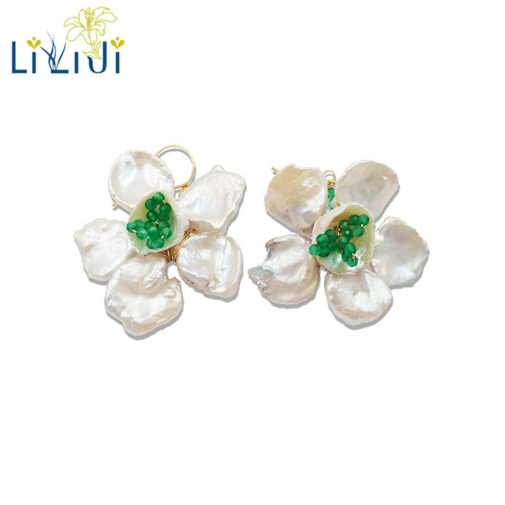 LiiJi Unique Keshi Pearl,Green Onyx Handwork 925 Sterling Silver Gold Color Flowers Earrings Women Party Jewelry
