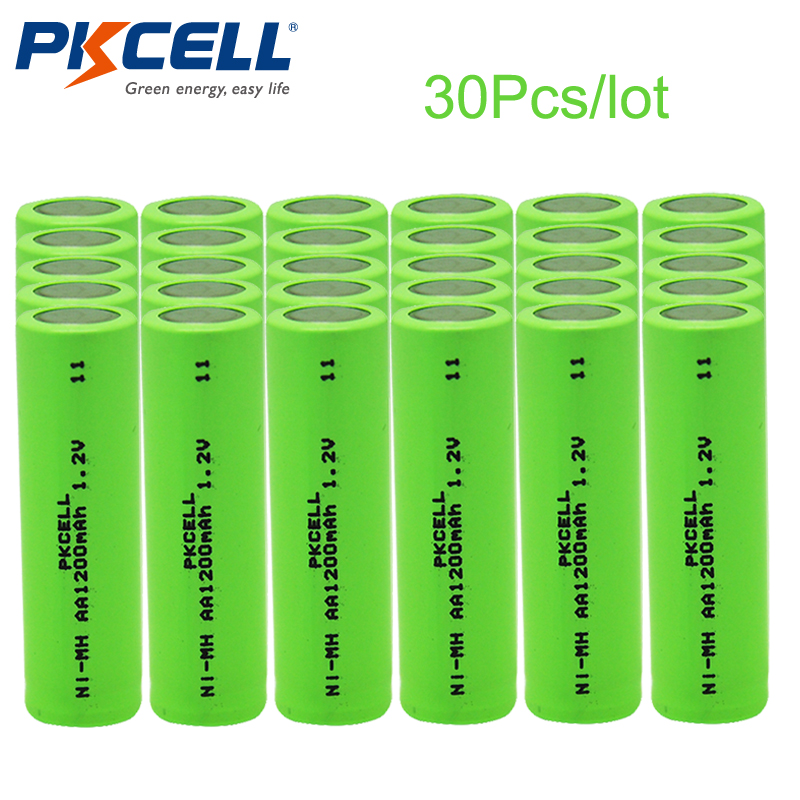 30Pcs/lot PKCELL AA Rechargeable Batteries Ni-MH 1200mAh 1.2V NiMH Industries Battery Batteries Bateria For Flat Top