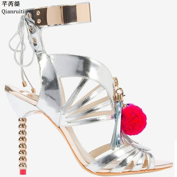 Qianruiti Rome Style Pom-Poms Lace-Up Women Sandals Cut-Outs High Heels Shoes Silver Gold Patchwork Mirrored-Leather Women Pumps bohemian style summer celebrity lace up flat shoes pom poms cute sandals skyblue pink colorful clip toe comfortable dress sandal