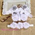 Festa do marfim batismo conjunto strass sapatos de bebê primeiro walker, bebê recém-nascido meninas calçados batizado, tecido da criança sapatinhos de bebê