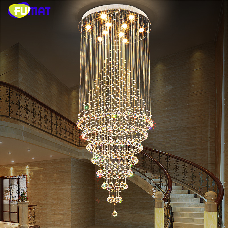 FUMAT K9 Crystal Chandelier Lastre Large Crystal Light For Living Room Hotel Mall Creative Stair Round LED Crystal Chandeliers