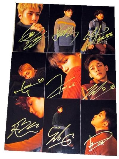 EXO EXO-K+EXO-M Autographed signed FOR LIFE  photo 9 photos set 10*15 cm freeshipping 12.2016 signed kobe bryant autographed original photo 7 inches free shipping 08201709