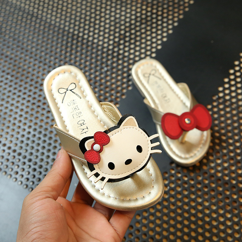 2017 Hello Kitty Cartoon New girl Flip Flops Lovely House Sandals Woman Shoes Hello Kitty Girls