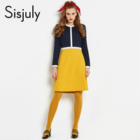Sisjuly Vintage 60s Dresses Women Long Sleeve Color Block A Line Office Lady Elegant Female Retro