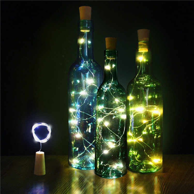 15 leds diy garrafa de cortiça luzes da corda fio prata estrelado luz para sala estar casamento natal crianças festa aniversário mal999