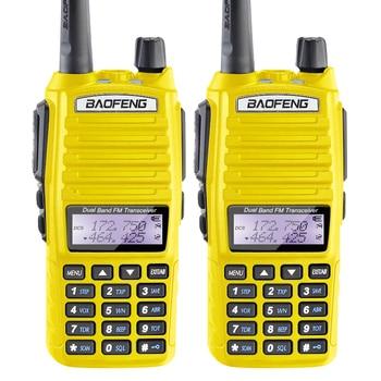 2PCS/Lot Yellow Baofeng 5W UV-82 FM Transceiver with Flashlight FM Radio Dual PTT Headset ihome id95sz silver dual alarm with fm ipod